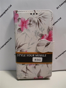 Picture of Nokia Lumia 830 White Floral Leather Wallet