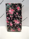 Picture of Moto X Style Black & Pink Floral Leather Wallet Case