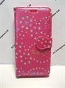 Picture of LG Leon Pink Floral Diamond Wallet Case