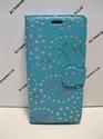 Picture of Smart Prime 7 Aqua Floral Diamond Leather Wallet Case