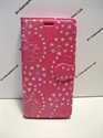 Picture of Xperia X Pink Floral Diamond Leather Wallet Case.