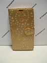 Picture of HTC One M10 Gold Floral Diamond Leather Wallet Case