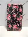 Picture of Xperia C4 Black And Pink Floral Leather Wallet Case