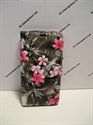 Picture of Xperia X Mini Grey Floral Leather Wallet Case.
