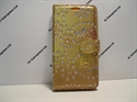 Picture of Xperia X Mini Gold Floral Diamond Leather Wallet Case.