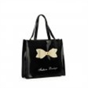 Picture of Black - Boutique Glossy Shopper Bag Handbag with Zip