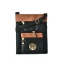 Picture of Black Contrast Zip Front Cross Body Pouch Bag With Metal Logo